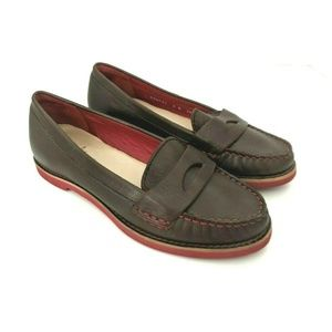Cole Haan Brown and Red Leather Penny Loafer